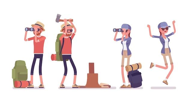 Piesze wycieczki mężczyzna, kobieta z lornetką, topór. turyści z plecakiem, ubrani na spacery na świeżym powietrzu, uprawiający sport, spędzający czas wolny. wektor ilustracja kreskówka płaski na białym tle, białe tło