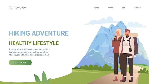 Piesze wycieczki szablon strony internetowej turystyki przygodowej zdrowego stylu życia z młodą parą turystyczną