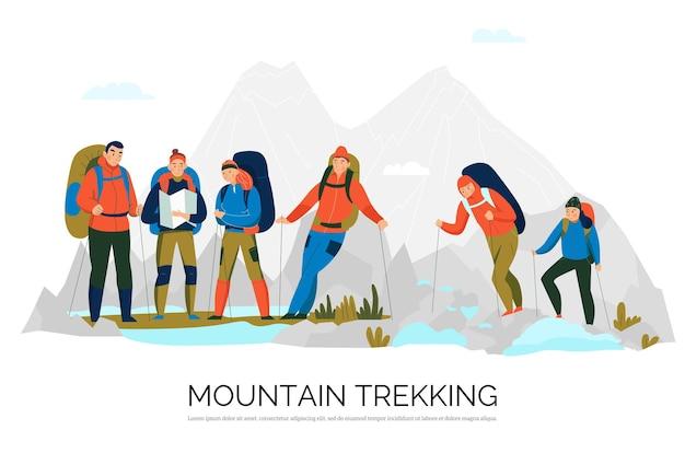 Piesze wycieczki trekkingowe płaska kompozycja z alpinistami w uprzęży ze sprzętem wspinaczkowym na szczyty górskie w tle
