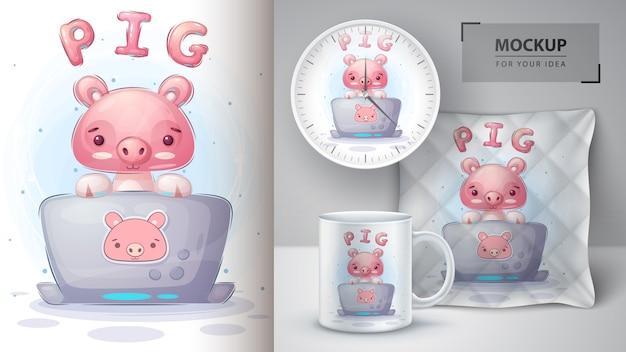 Pig pracuje przy plakacie notebooka i merchandisingu.