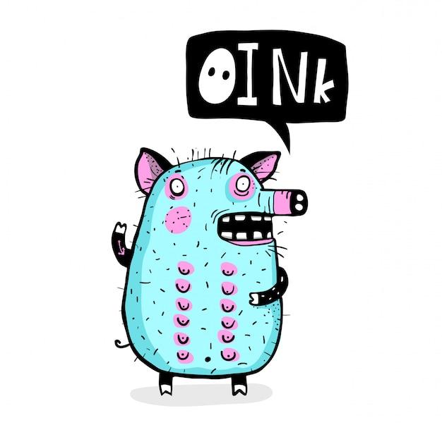 Piggy talking oink funny cartoon