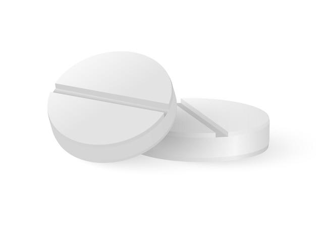 Pigułka biała tabletka medycyna okrągły wektor d leki z cień koło witamina realistyczna ilustracja