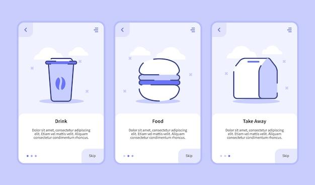 Pij jedzenie na wynos ekran powitalny dla aplikacji mobilnych