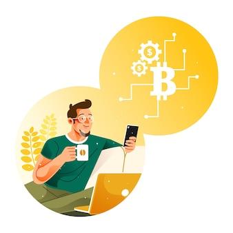 Pij kawę podczas handlu bitcoinami