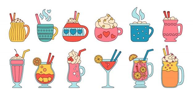 Pij lato płaski kolorowy zestaw linii. liniowe napoje kreskówkowe gorące, świeże. śliczne kubki kakao, mleko kawowe, śmietana i grzane wino, alkohol. imprezowe napoje ze słodyczami, ptasie mleczko. ilustracja