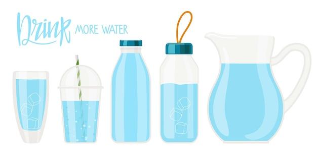 Pij więcej wody odręczny tekst kaligrafii i różne zbiorniki na wodę różne zestawy butelek