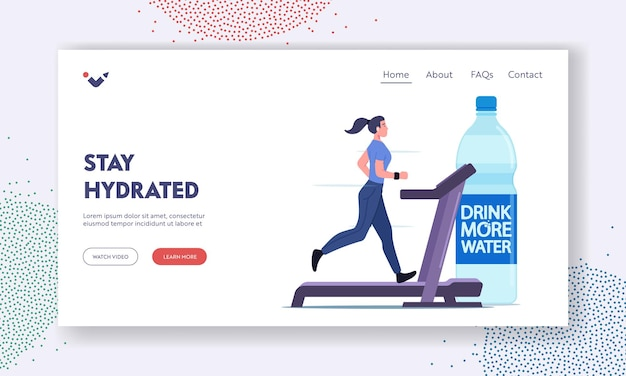 Pij więcej wody szablon landing page. zdrowy styl życia, nawodnienie. sportowiec charakter biegać na bieżni i picia wody butelkowanej orzeźwiający po aktywności fitness. ilustracja kreskówka wektor