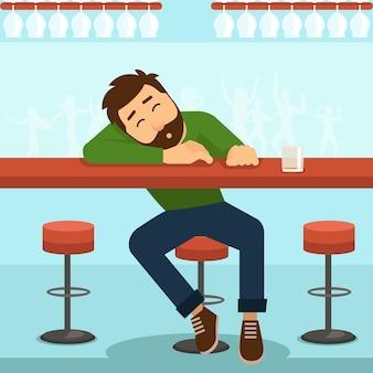 Pijany facet. alkohol i szkło, osoba i stół, alkoholizm i whisky,