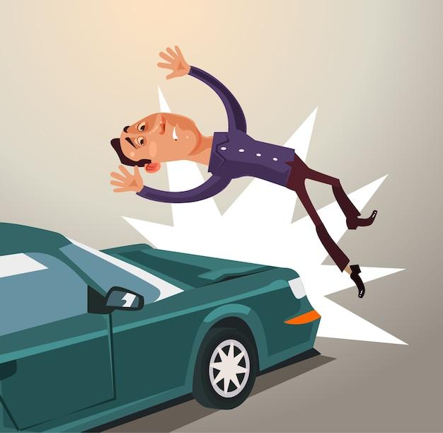 Pijany kierowca uderzył mężczyznę samochodem. koncepcja wypadku drogowego.