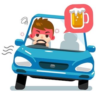 Pijany męski kierowca