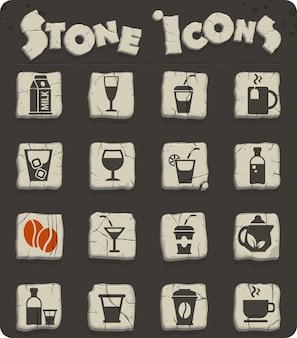 Pije ikony internetowe na kamiennych blokach w stylu epoki kamienia do projektowania interfejsu użytkownika
