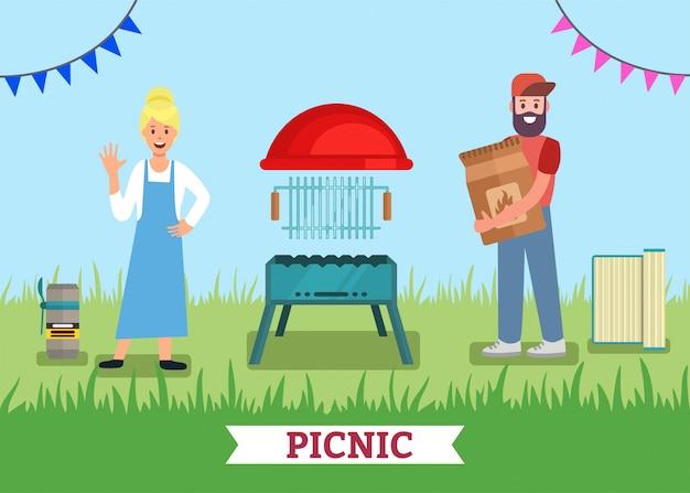 Piknik Dla Dwóch Reklam Grill Grill Shop Premium Wektorów
