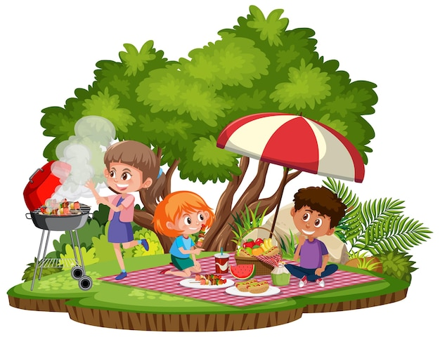 Piknik dla dzieci w parku na białym tle