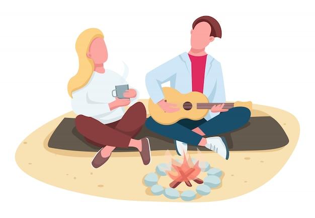 Piknik na plaży bez twarzy postaci w kolorze płaskim. letni kemping. chłopak bawić się gitarę, dziewczyna pije herbaty odizolowywał kreskówki ilustrację dla sieci i animaci
