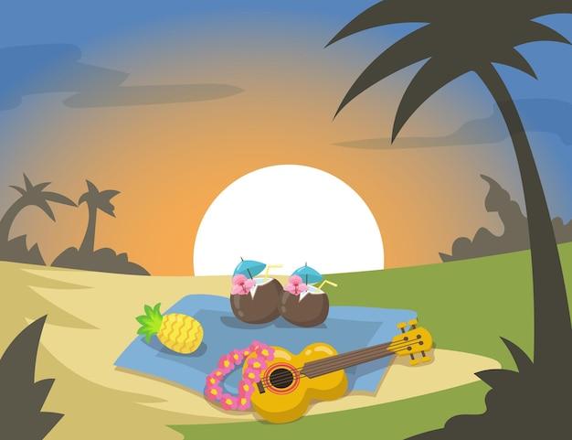 Piknik na plaży na hawajach z egzotycznymi koktajlami o zachodzie słońca