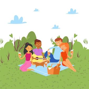Piknik na świeżym powietrzu w przyrodzie lub parku, weekend z rodziną i przyjaciółmi wspólnie bawimy się ilustracja kreskówka, ludzie z gitarą.