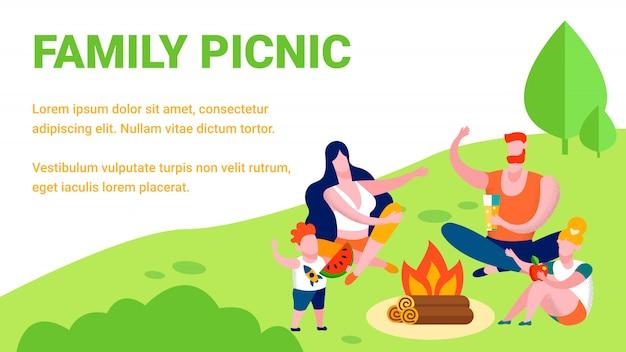 Piknik rodzinny lato rekreacja ilustracja