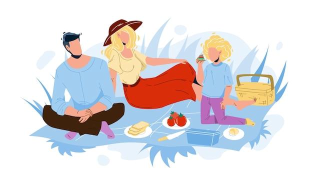 Piknik rodzinny mężczyzna, kobieta i dziewczyna w naturze wektora. ojciec, matka i córka relaks na pikniku rodzinnym. znaki siedzące na ziemi w parku i jedzenie razem płaskie ilustracja kreskówka