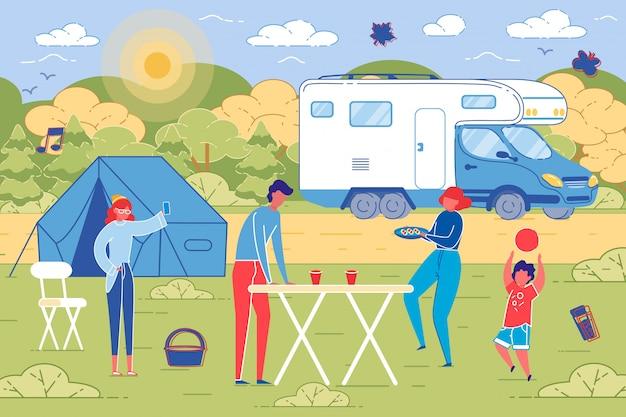 Piknik rodzinny odkryty na tle wsi.