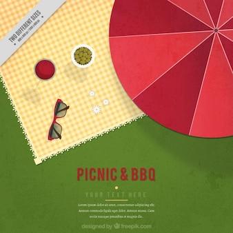 Piknik tła w płaskiej konstrukcji