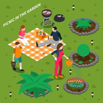 Piknik w ogrodzie izometryczny