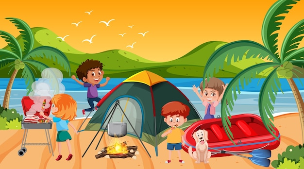Piknikowa scena z szczęśliwą rodziną na plaży