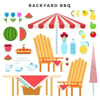 Piknikowe meble i jedzenie, zestaw kolorowych płaskich elementów. atrybuty bbq party na podwórku. ilustracji wektorowych.