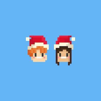 Piksel chłopiec i dziewczynka głowa kapelusz świętego mikołaja