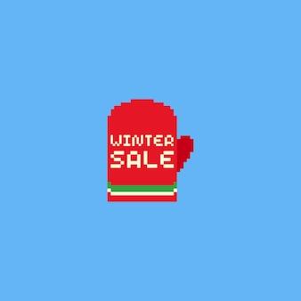 Piksel czerwona rękawiczka z tekstem sprzedaży zimowych
