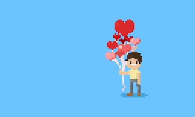 Piksel człowiek posiadający serce balony. valentine