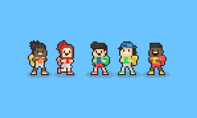Piksel kreskówka dzieci postać z plecakiem. powrót do koncepcji szkoły. 8 bitowy.