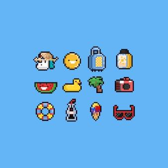 Piksel kreskówka lato zestaw ikon. 8 bitowy. wakacje.