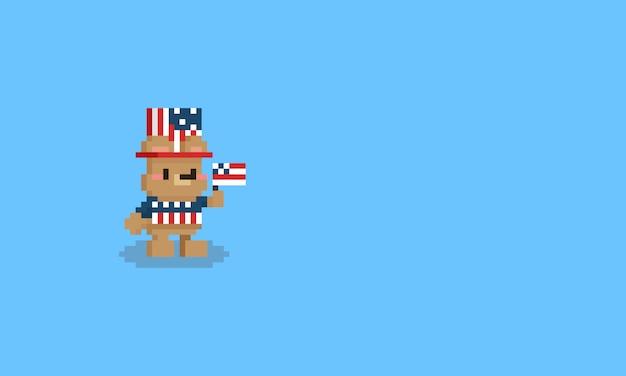 Piksel kreskówka mały miś z tkaniny dzień niepodległości. 8-bitowy znak.