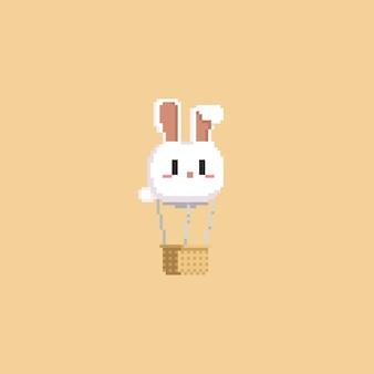 Piksel ładny biały królik balon