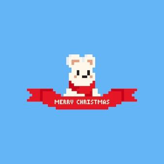 Piksel niedźwiedź polarny z czerwoną wstążką. boże narodzenie.