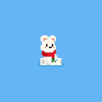 Piksel siedzi niedźwiedź polarny z czerwonym szalikiem
