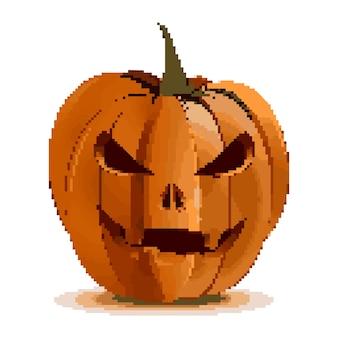 Piksel sztuka halloween projekt. jack o latarnia jest głównym atrybutem rzeźbione dyni święto halloween na białym tle. latarnia halloweenowa dynia. ilustracja wektorowa