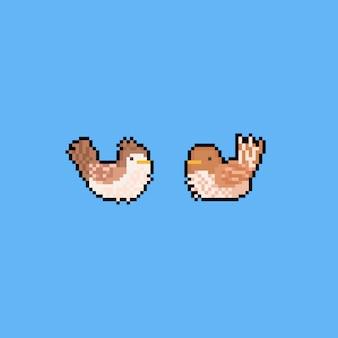 Piksel sztuka kreskówka jesień ptak charakter. 8 bitowy.