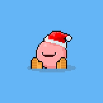 Piksel sztuki kreskówka ładny potwór piłkę w kapeluszu świętego mikołaja.