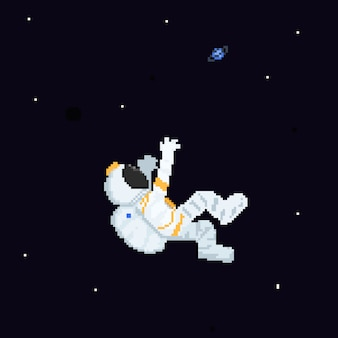Piksel sztuki kreskówki astronauta postać unosi się na przestrzeni.