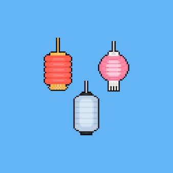 Piksel sztuki kreskówki chuseok lampy ikony set. 8 bitowy.