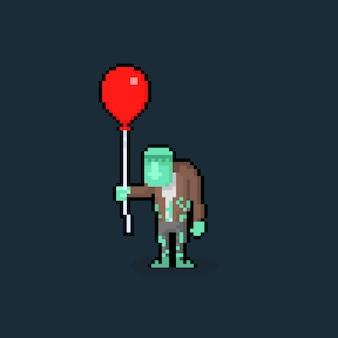 Piksel sztuki kreskówki frankenstien trzyma czerwonego balon.