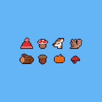 Piksel sztuki kreskówki jesieni ikony set. 8 bitowy.