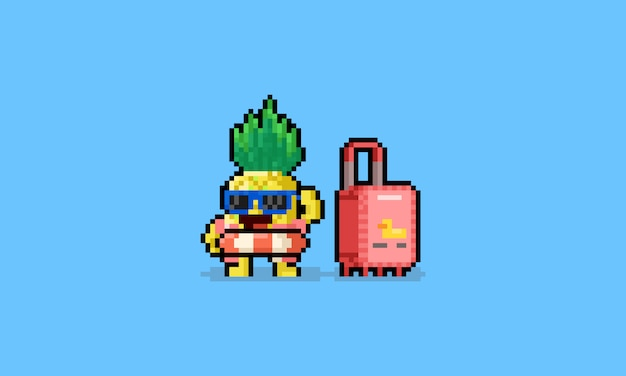Piksel sztuki kreskówki lata ananasa charakter z bagażem