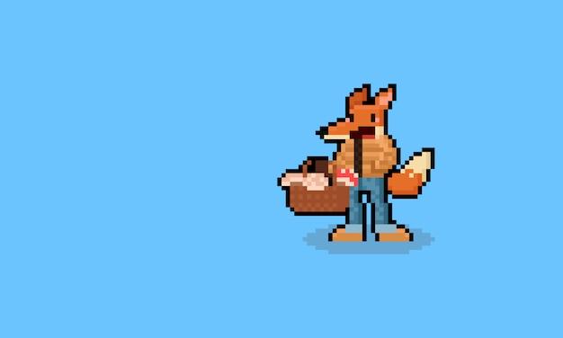 Piksel sztuki kreskówki lisa charakteru mienia pieczarki kosz. 8 bitowy.