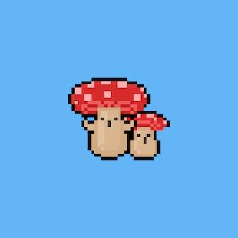 Piksel sztuki kreskówki pieczarkowy charakter. 8 bitowy.