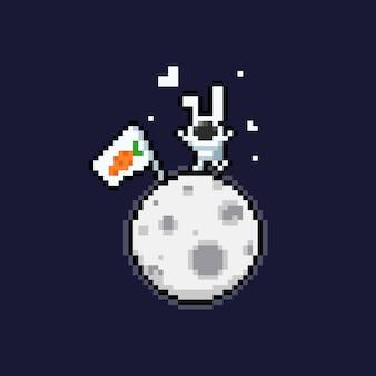 Piksel sztuki kreskówki śliczny astronauta królik na księżyc.