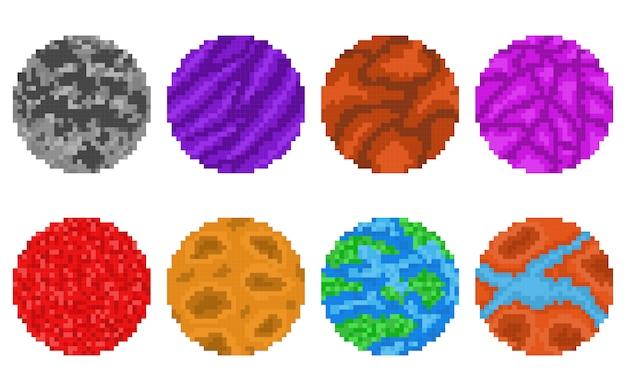 Piksel sztuki planet na białym tle wektor zestaw
