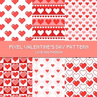 Piksel walentynki wzór miłość i pasja