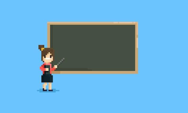 Piksel żeński nauczyciel wskazuje przy pustym blackboard